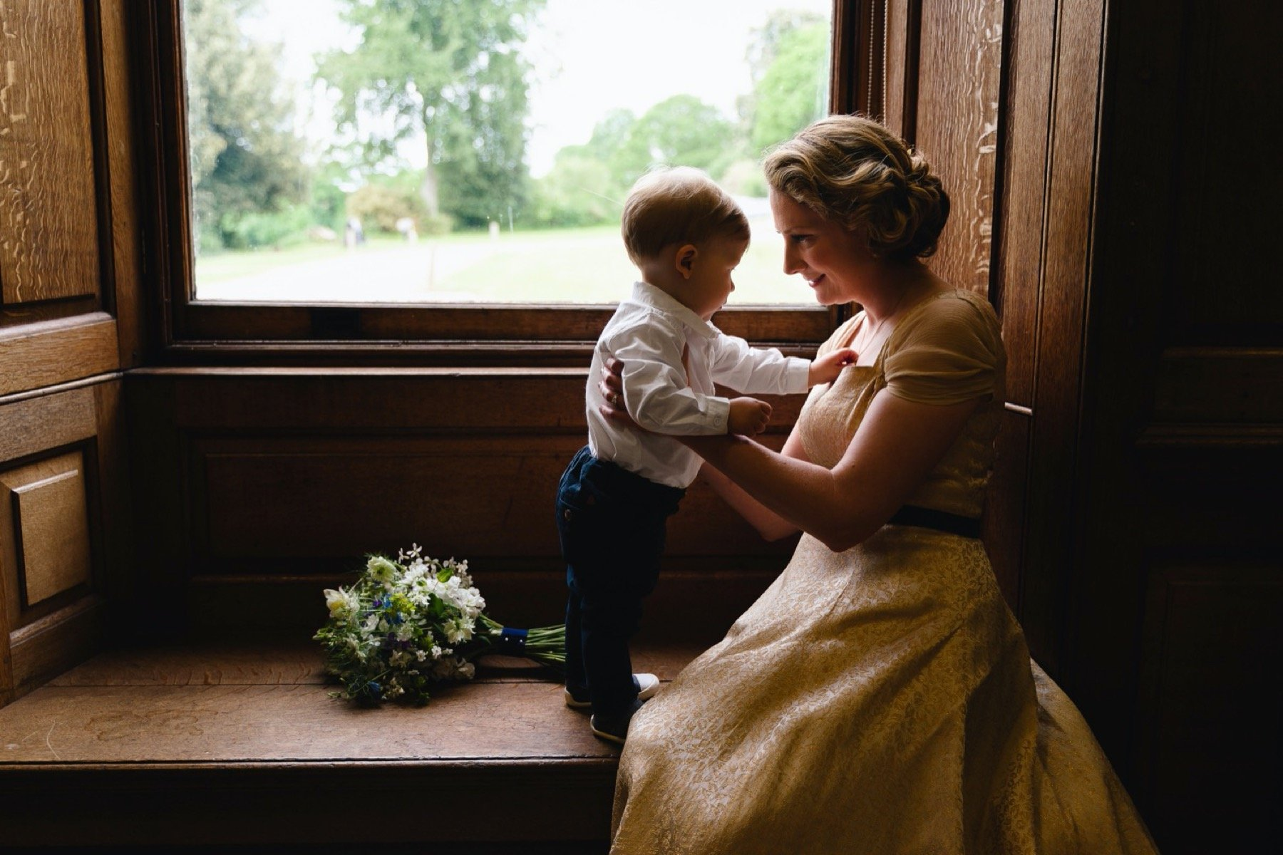 bride and child at hestercombe gardens in somerset