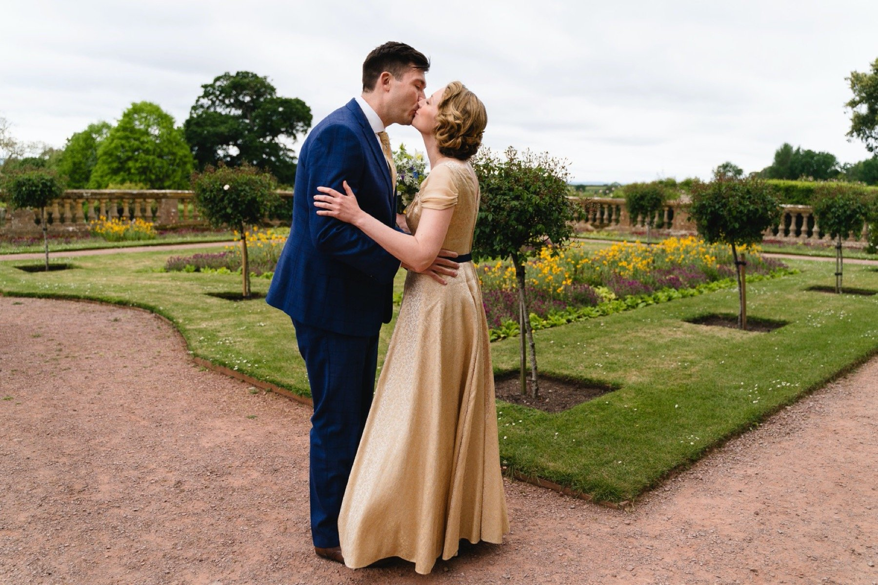 bride and groom first look at hestercombe gardens